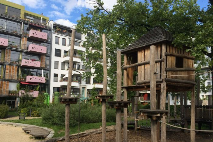 A communal garden at a Baugruppen apartment development in Berlin.