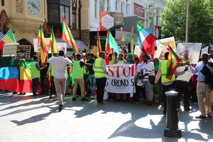 Ethiopians rallying in Perth