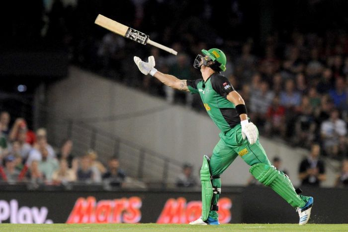 Kevin Pietersen of the Stars throws his bat after getting out during the Big Bash League