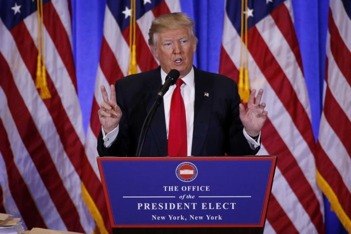 US President-elect Donald Trump speaks during a news conference.