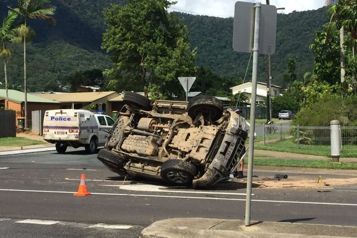 Stolen car overturned in Cairns