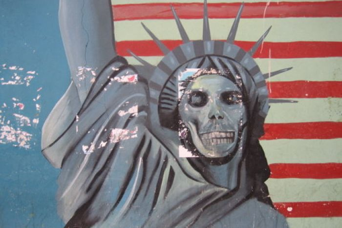 The walls of the former American embassy in Tehran are emblazoned with anti-US graffiti.