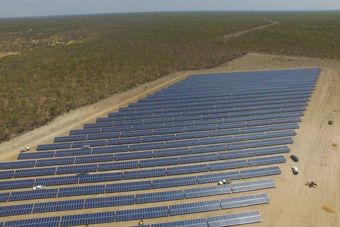 A bids eye view of the panels that make up the Normanton Solar Farm.