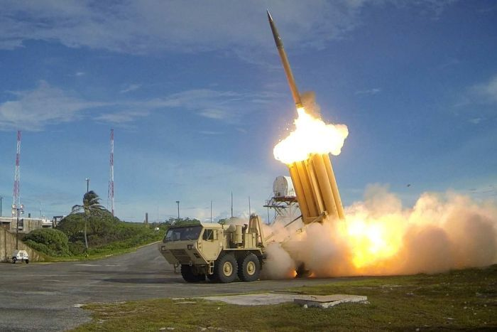 A THAAD missile is fired