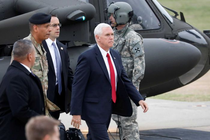 US Vice President Mike Pence arrives at Camp Bonifas.