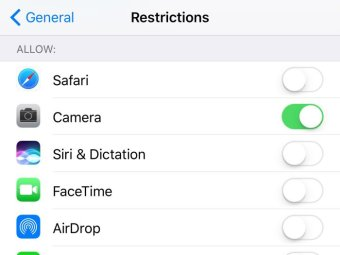 The restriction settings on an iPhone.