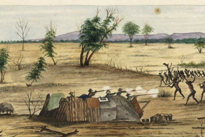 A painting shows armed fighting between the expedition and Aboriginal people.