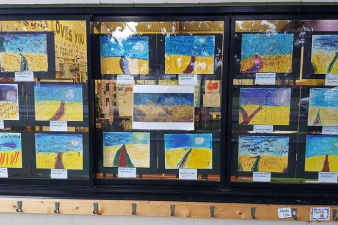 Vincent Van Gogh's Wheatfields with Crows as painted by Queensland prep students