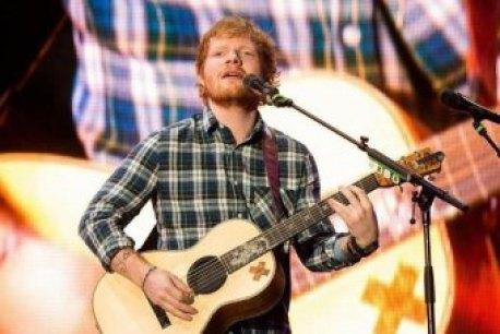 Singer Ed Sheeran when he closed the Pyramid stage at Glastonbury in Britain,