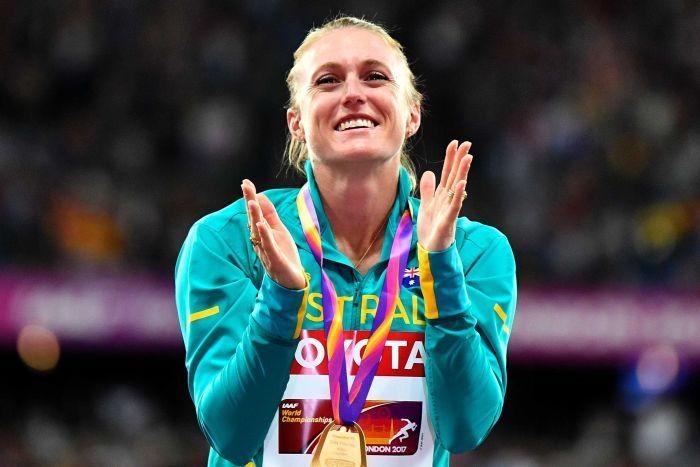 Sally Pearson Tears Up And Claps At The Medal Ceremony For The M Hurdles