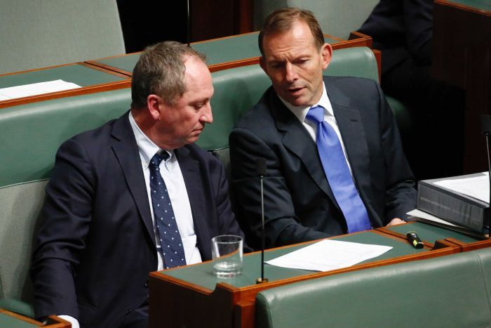 Barnaby Joyce & Tony Abbott talk on the backbench