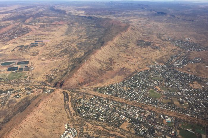 An aerial view of Alice Springs