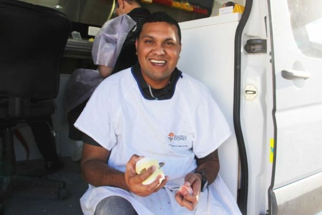 Paul Talbot at his mobile denture clinic in Moree.