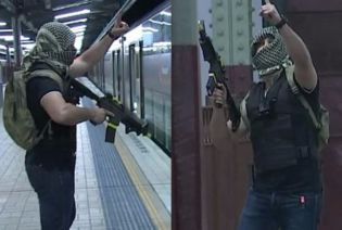 A composite image of two men holding weapons, with their faces covered.