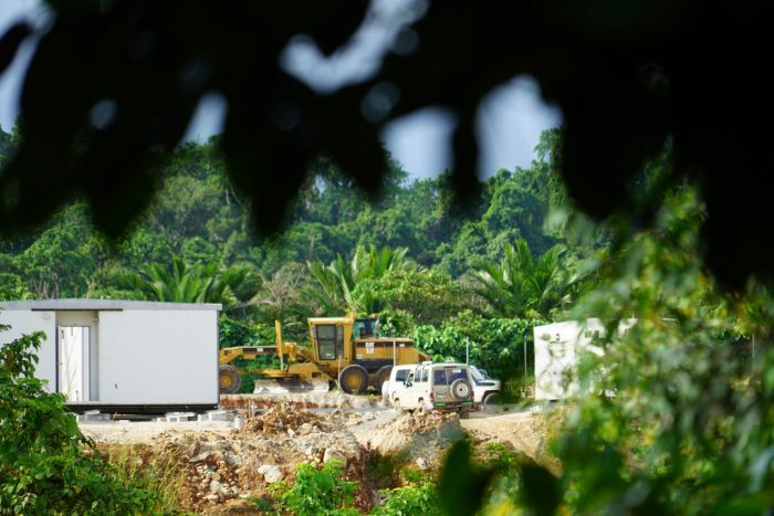 Heavy machinery is scene at the new accommodation site on Manus Island.