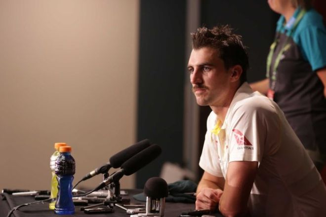 Australia's Pat Cummins speaks at a media conference after Day one of the first Ashes Test.