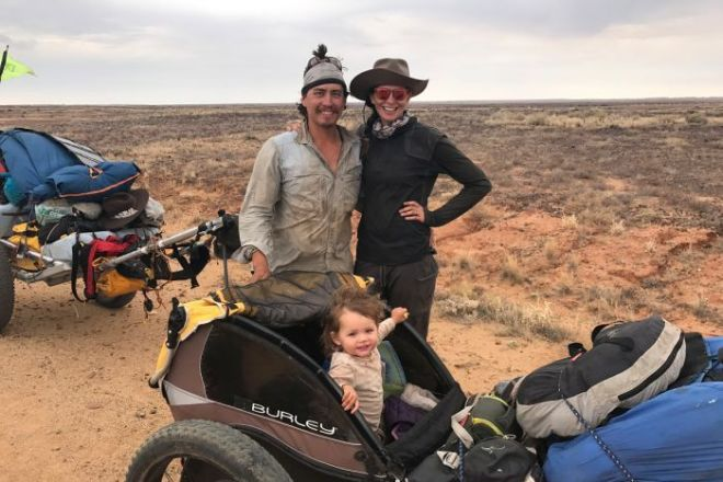The Jones family poses for a photo in the outback.