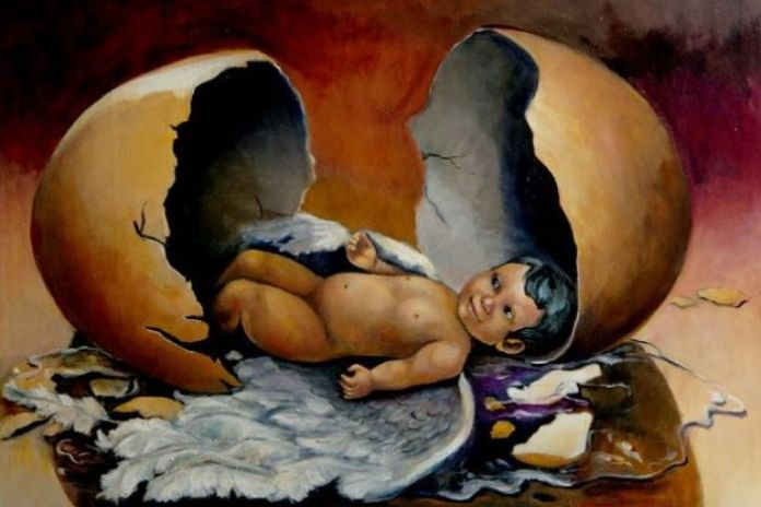 A painting by Faisal Rusdi called Reincarnation Oil..
