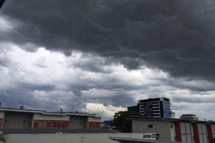 Thunderstorms approaching Brisbane's Fortitude Valley
