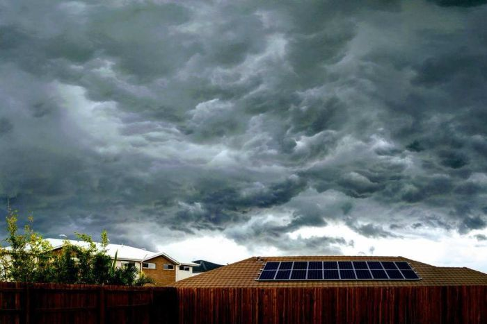 Dark clouds seen from Brisbane backyard