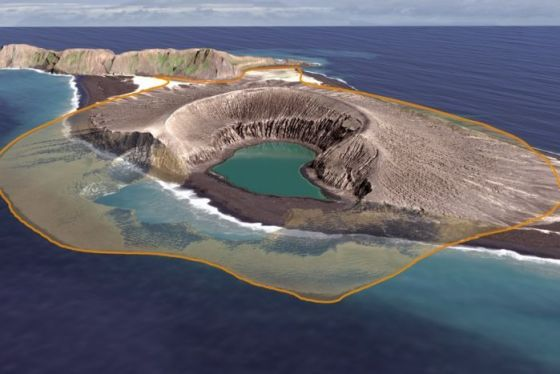 A 3D reconstruction shows an overlay of how the island has eroded.