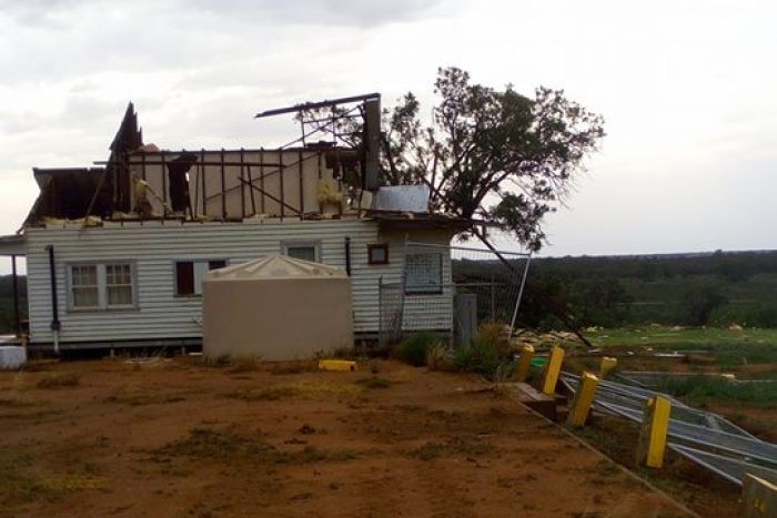 A house missing roof at Merbein, in Victoria's north-west, after a severe storm passed through.