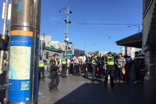 Victoria Police have cordoned off access to Flinders Street