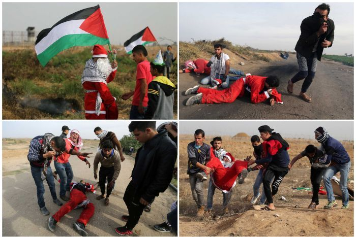Palestinian protester dressed as Santa injured in clash with Israeli army