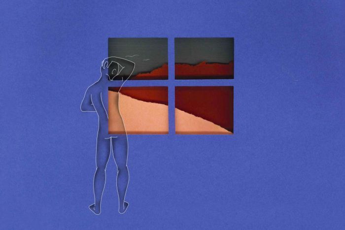 An illustration of a naked figure looking out of a window