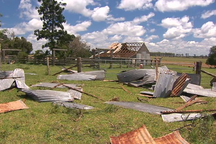Damage to farm buildings in the town of Kumbia from a storm which hit on Boxing Day.