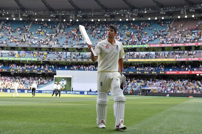 England's Alastair Cook walks off the MCG with a century