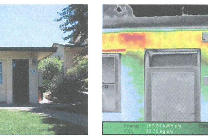 Infrared technology used to show heat loss from a wall