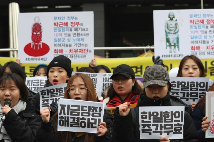 South Korean students shout slogans and hold up Korean posters that read