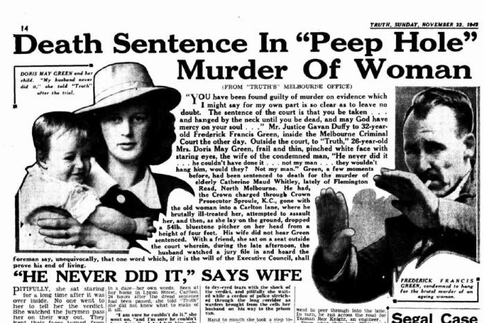 A page from a newspaper featuring a photo of a woman and child and another of a man holding up his hands.