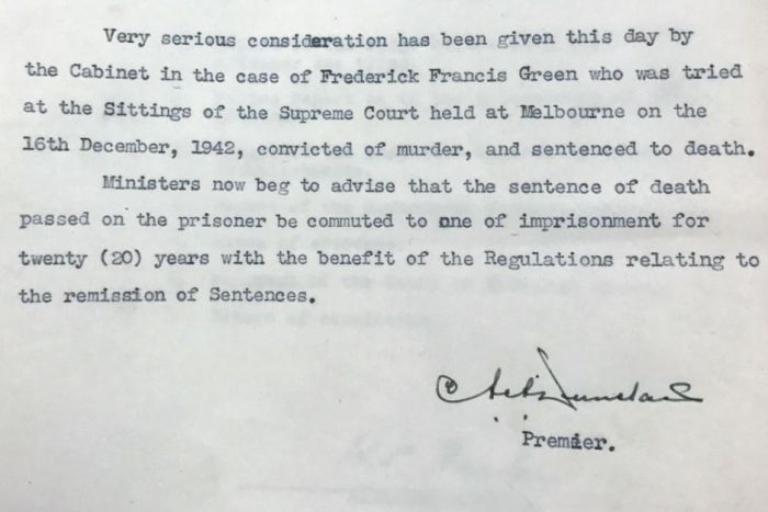 A letter to the Governor typed on Victorian State Government letterhead, signed by the Premier.