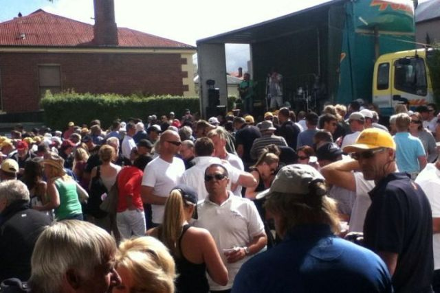 Crowds in the carpark at Shippies for Quiet Little Drink Hobart in 2013