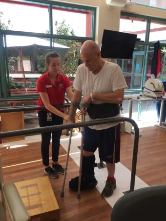 Paul Walker in physical rehabilitation at Sydney's Prince of Wales Hospital.