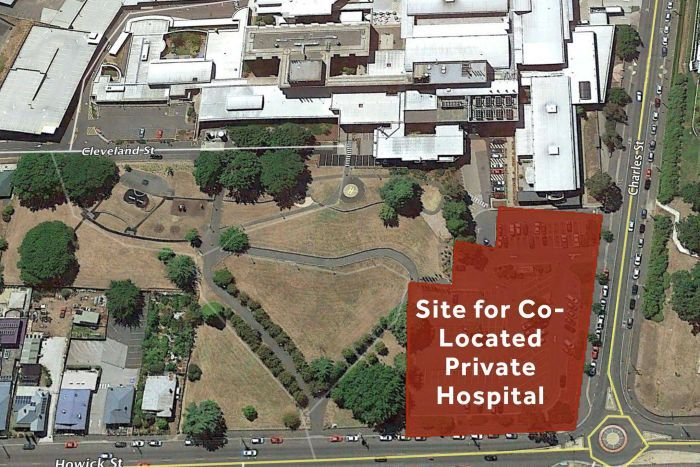 Labor Party map of proposed site for private hospital at the Launceston General Hospital