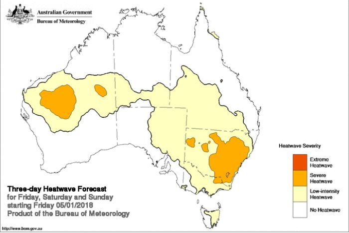 A map of Australia with a legend that shows levels of heatwave severity.