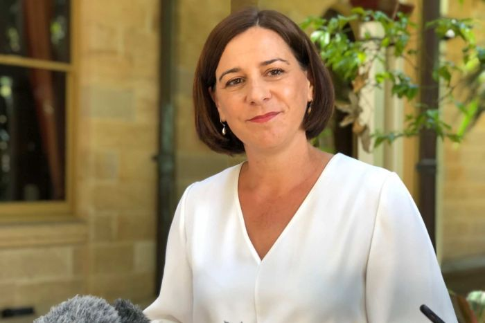 Queensland's Opposition leader Deb Frecklington at a press conference criticising Commonwealth Games training.