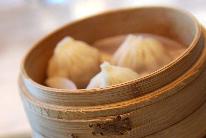 A stack of bamboo food steamers.