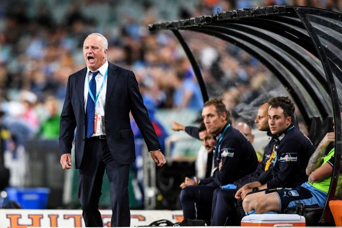Sydney FC coach Graham Arnold reacts in match against Newcastle Jets