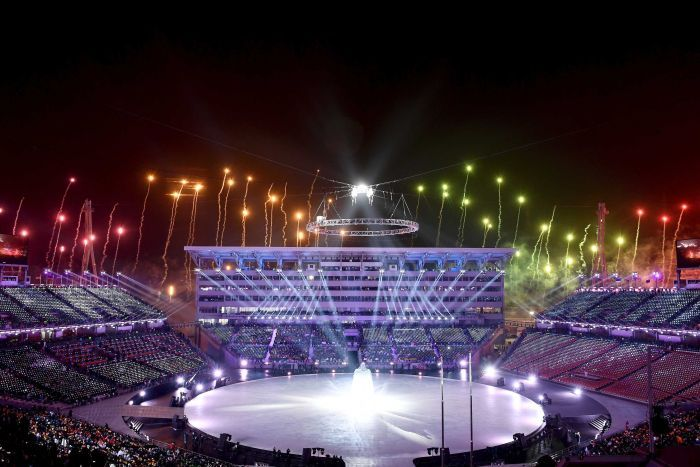 Fireworks are set off during the opening ceremony
