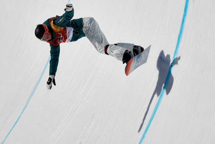 Emily Arthur in mid-air during the women's halfpipe final at the Pyeongchang Olympic Winter Games.