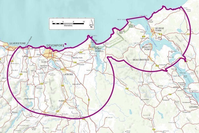 Devonport area fruit fly control zone, as of February 20, 2018.