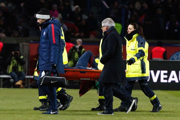 PSG's Neymar leaves the pitch on a stretcher after being injured against Marseille in Ligue 1.
