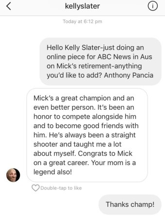 Kelly Slater's tribute to Mick Fanning