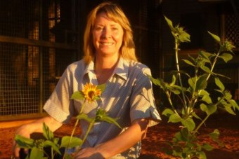 A woman smiles among a group of sunflowers when the afternoon sun hits her face. She is in a front yard with red earth.