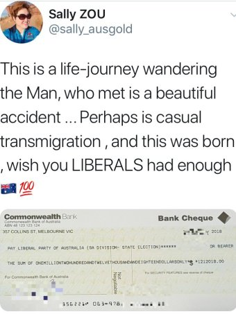 Sally Zou tweet including image of a cheque for $1.2 million made out to SA Liberals.