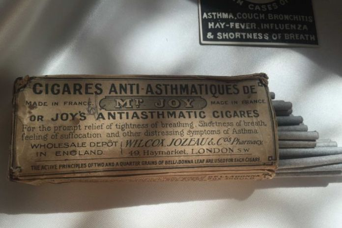 An old packet on cigarettes on display in a medical exhibition.